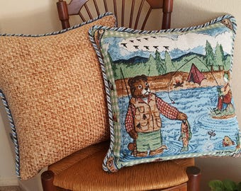 Brown Bear and Frog Friends Go Camping and Fishing Tapestry Fringe Trimmed Decorative Pillow