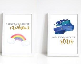 RAINBOWS and STARS print set A4