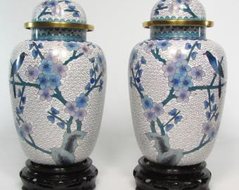 Couple 25 CM height cloisonné vase with lid