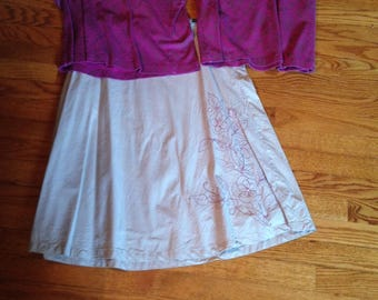 Magenta top and Kakyi skirt with Magenta floral embroidery 100% cotton top Medium skirt size 14