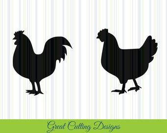 Chicken SVG Cut File, SVG DXF cut file rooster hen dxf Cricut svg Silhouette svg Vinyl Cut File Digital cut file Cricut cut file Silhouette