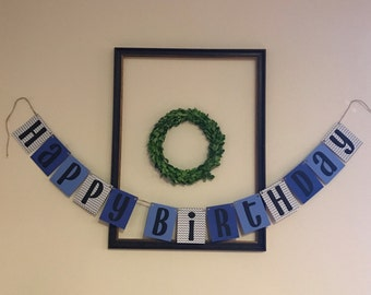 Happy Birthday Banner / Navy, Blue, Black, Gray & White Chevron / Hanging Banner / Boy Birthday Party Decor / Birthday Decorations