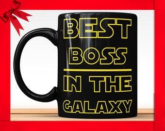 Best Boss in The Galaxy Black Coffee Mug - Funny Coffee Mug Perfect Gift For Boss