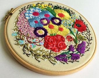 Floating Flowers, Hand Embroidery Hoop, Hoop Art, Fibre Art