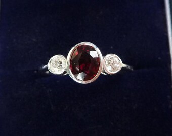 Stunning 18ct white gold ruby and diamond three stone trilogy 18k vintage antique ring