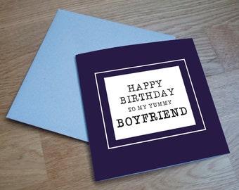 Eco Friendly Birthday Card - 'Yummy Boyfriend'