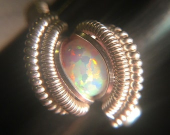 Sterling Silver Wire Wrapped Opal Ring, Heady Opal Wire Wrap Ring, Heady Opal Ring, Heady Wire Wrap, Heady Ring, Wire Wrapped Ring