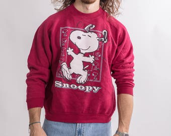 Vintage 90s Burgundy Snoopy Sweater