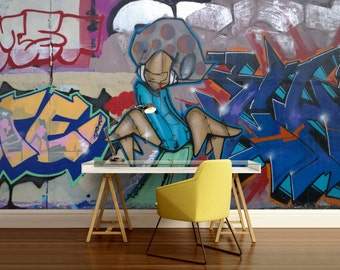 GRAFFITI 3d MURAL, graffiti art mural, graffiti mural, self-adhesive vinly, graffiti wall decal, graffiti mural, graffiti wall decal, wall