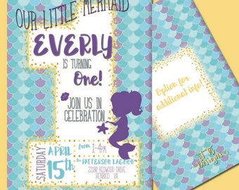 Little Mermaid First Birthday Invitation