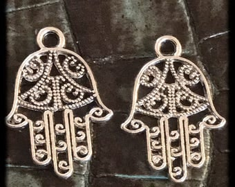 Antique Silver Hamsa Hand Charms Pair  - 20mm -  A37