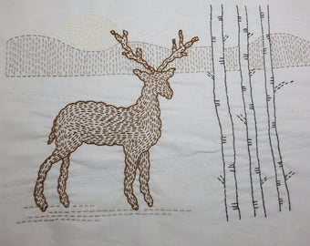 Winter Stag Kantha Hand Sewing Kit