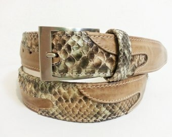Belt in GENUINE rock PYTHON and CALFSKIN-genuine Python Belt buff rock and calf leather-Made in Italy