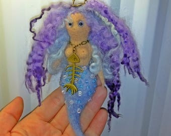 Made to Order !!  Sold Needle Felted Mermaid with Beads and Fish Bone Bronze Pendant Companion Oddities