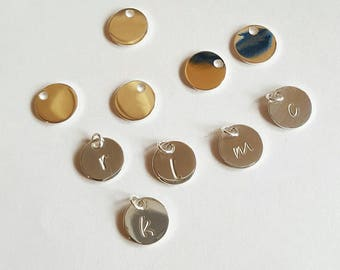 Sterling siIver initial discs. Personalised initial discs. Custom initial discs. Initial discs connector. Personalised jewellery Handstamped