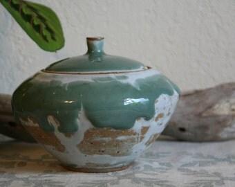 SALE Vintage Mid Century Studio Pottery Pot Lidded