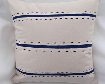 Nautical, Navy pillow cover, Home Decor, stripe, Scandinavian, beach, modern, throw pillow, accent pillow, decorative pillow cover,