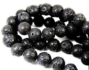 """Two 15.5"""" strands Lava Rock Beads Black 12mm"""