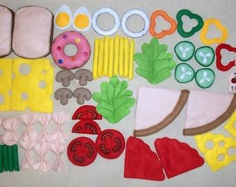 63pcs/1set Felt Kitchen Food Vegetable Fast Food Pizza Kids Pretend Play Educational Toy Cook