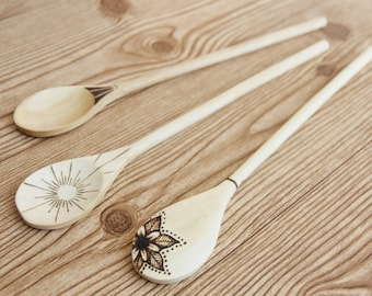 Kitchen Wand ~ wood burned spoon, cooking, kitchen witch