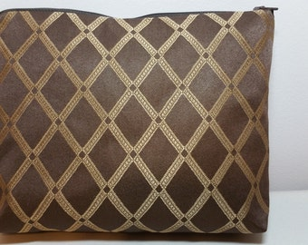 Zippered Cosmetic Bag Chesnut Brown & Gold FREE SHIPPING