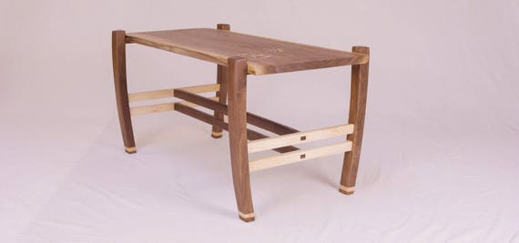 Handmade Walnut and Curly Maple Coffee Table