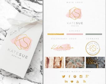 Branding Package,Photography Logo,Pink Watercolor, Makeup Logo,Interior Design Logo,Gold Foil,Fashion Blog Business Logo,Chic,Geometric Logo