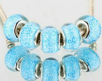 Set of 5 Teal Murano Glass Beads Fit European Charm Bracelets