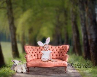 Newborn Digital Easter Backdrop, Newborn Digital background, Easter Backdrop, Toddler background, Lamb, antique couch, digital backdrop