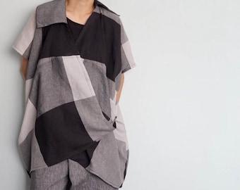 Cross-Over Slouchy Blouse-Cotton Gauze Wrap Blouse,Kimono Blouse