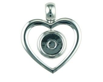 Silver Plated Heart Pendant with 12mm Cup
