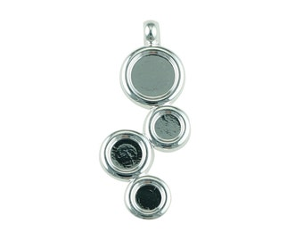 Silver Plated Pendant with 2x5mm, 1x6mm, and 1x8mm Cups