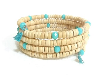 wood and turquoise five wrap