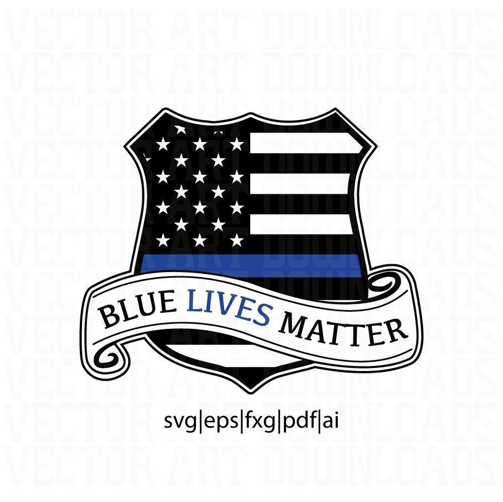 blue lives matter police shield badge vector art svg dxf fxg