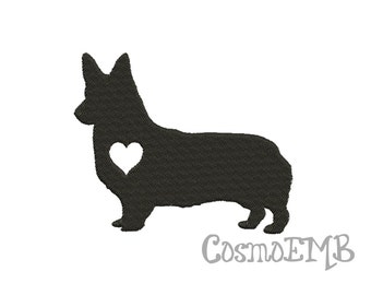 5 Size Corgi Silhouette Applique Embroidery design Machine Embroidery - Digital INSTANT DOWNLOAD
