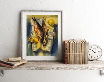 Fish watercolor painting, Kitchen Print, Apartment Decor, Fish Print, INSTANT DOWNLOAD