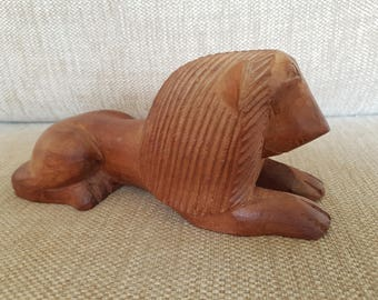 Wooden Lion hand carved in Africa