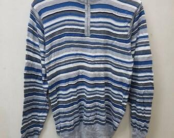 Vintage Sweatshirts/Sweater/ Barneys New York For Women Stripe Style Nice Design Half Zipper Women Style