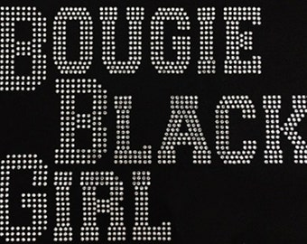 BOUGIE BLACK GIRL Rhinestone Bling Tshirt-Black Love-Black Pride-Plus Sizes -All Sizes Available S to 3XL Fitted V-Neck Tshirts