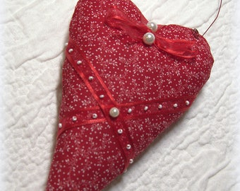 Red Vintage Heart, Mothers Day Gift, Love Gift, Heart Decor