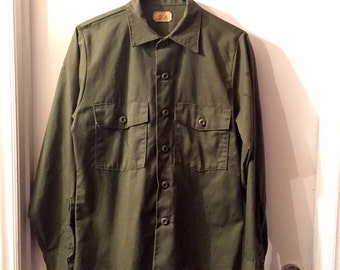 Vintage 1970s Dark Green Military Dress Shirt