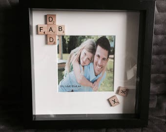 Personalised 'Fab Dad' Scrabble Print with Frame