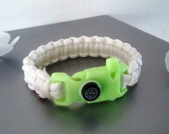 Bracelet glow in dark Paracord and white compass survival kit