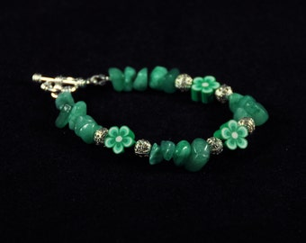Green Flower Bracelet with Silver Accents