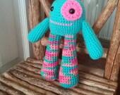 Crochet Monster, amigurumi, bubble legs (blue)
