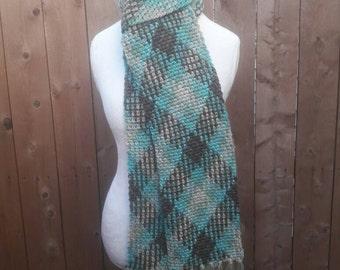 Crochet Argyle Scarf, blue/taupe/brown