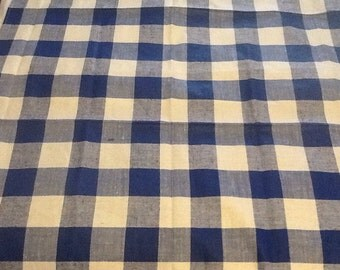 Vintage 34x36 Blue Checkered Tablecloth