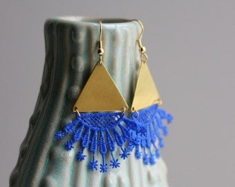 Brass Triangle Earrings / Cobalt Blue And Gold Jewelry / Modern Geometric Lace