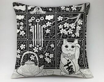 Maneki-neko pillow cover Decorative pillow kitten pillow Japanese lucky cat pillow case kawaii cat pillow beckoning cat pillow throw pillow