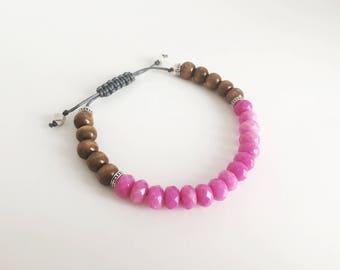 Bracelet ajustable avec billes en pierre de Jade et billes de bois
